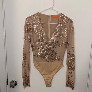 Gold Glitter Long Sleeve Bodysuit